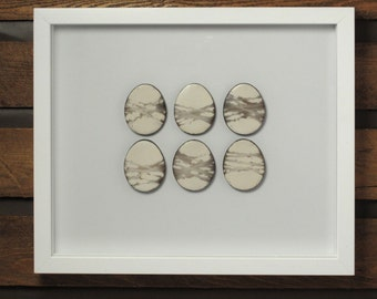 Framed 6 Smoke Fired Ceramic Eggs