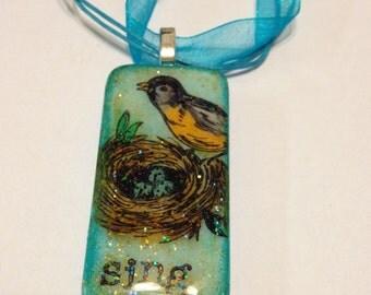 Beautiful Bird Domino Pendant, Upcycled Domino Jewelry, Gift For Bird Lovers