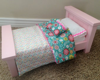 """American Girl Bed. 18"""" Doll Farmhouse bed with mattress - Pink"""