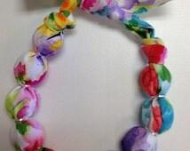 Bright Watercolor Floral Fabric Wrap Wood Bead Bracelet