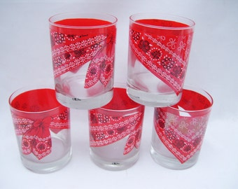 6 Red Bandana Tumblers Western Style Barware Drinking Glasses Cora