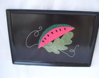 Black Watermelon Tray Inlaid Couroc of Monterey California Rectangle