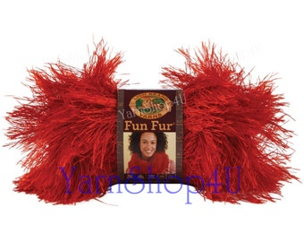 RED FUN FUR Lion Brand Fun Fur, red eyelash yarn, red novelty yarn, red Fluffy yarn, furry scarf yarn, fuzzy scarf yarn, boa scarf yarn,