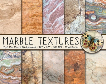 MARBLE Digital Paper, Marble and Granite Texture Photo Backgrounds, 10 Stone Photo Backdrops