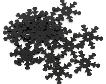 200 Black Christmas Snowflake Sequins, Sewing ,Card Making, Scrapbooking, Decorations and other crafts. 19x17mm