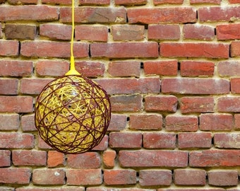 Brown and yellow string sphere lamp  / hanging lamp, pendant lighting