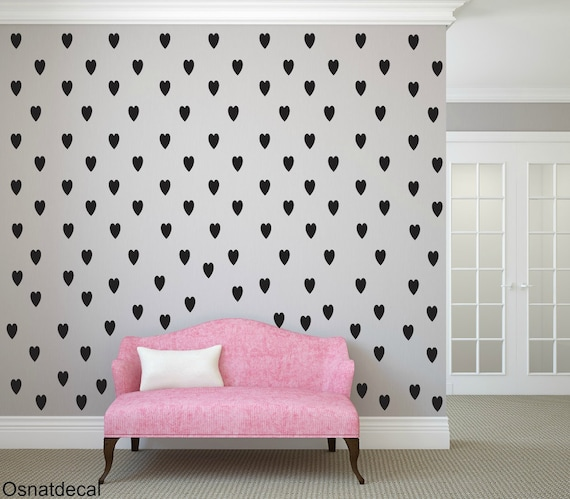 FREE SHIPPING Wall Decal 245 Black Hearts. Nursery Wall Decal.Wall Art. Wall Paper.Vinyl Wall Decal. Diy Wall Decal.