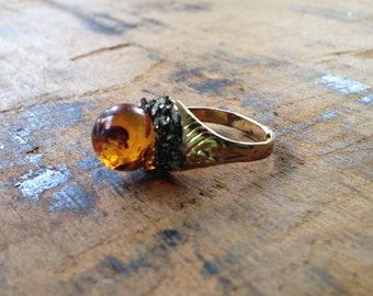 Amber & Pyrite Encrusted Ring