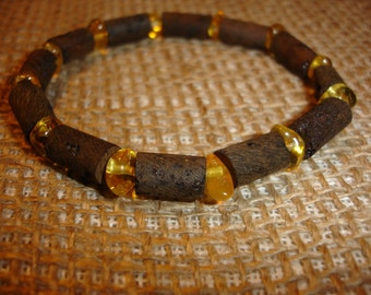 Raw Baltic Amber Bracelet Polished and Unpolished