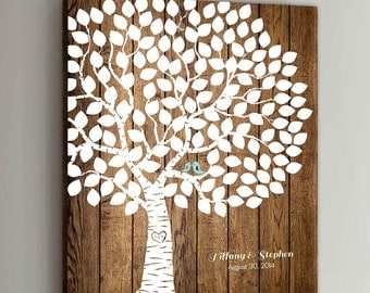 150 Guest CANVAS Wedding Guest Book Wood Wedding Tree Wedding Guestbook Canvas Alternative Guestbook Canvas Wedding Guestbook - Wood