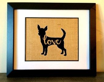 Pet Silhouette burlap print. Chihuahua. Custom pet burlap print.