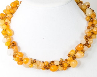 Yellow Jasper and crystals Crocheted Statement Necklace
