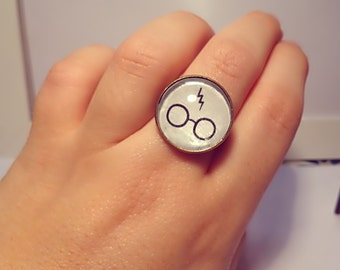 ring harry potter glasses and scar adjustable size bronze and colored glass