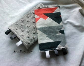 Baby Carrier Teething Pads-Reversible Strap Cover- Prism (Tula match)/Silver Minky Drool Pads