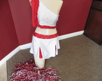 pageant CHEERLEADER w poms  YOUTH crop top with poms & skirt custom made competitive dance gymanstic tumbling pageant