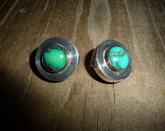 Vintage 925 Turquoise clip on earrings