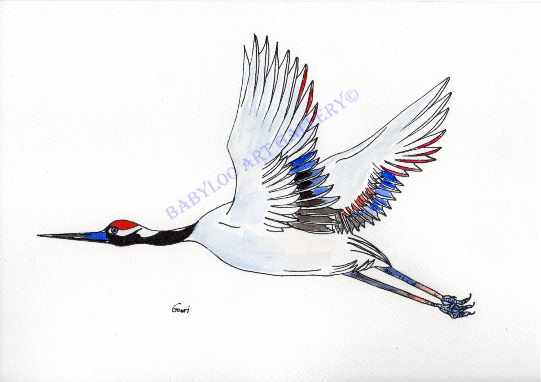 Japanese Crane Ink Drawing - photo#7
