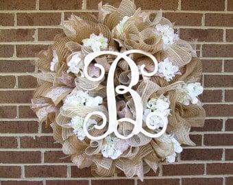 Wedding Wreath, Bridal Shower Wreath, Bridal Wreath,Burlap Wreath, Summer Wreath, Burlap Wreath, Monogram Wreath, Spring Wreath