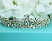 Gold Wedding Tiara, Gold Bridal tiara headpiece, wedding headpiece, rhinestone tiara, crystal tiara, gold accessories, Gold Tiara 210537052