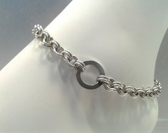 BDSM Chainmaille Submissive O Ring Anklet, Slave Anklet, Stainless Steel