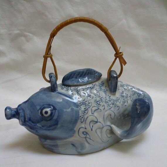 Vintage asian blue white koi fish tea pot by for Blue and white koi fish