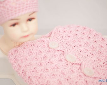 Hand Crocheted Pink Baby Cocoon and Beanie Set Hand Crocheted