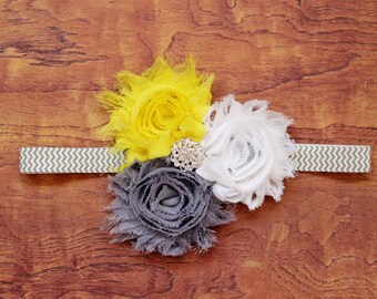 Yellow and Grey Shabby Flower Headband