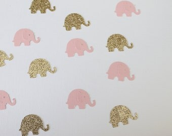 Gold and Pink Confetti- Pink and Gold Elephant Confetti- Baby Shower Decor- Pink and Gold Decor- Pink and Gold Baby Shower Decor