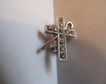 Vintage  silver tone with  stones Cross  Brooh  / with Cane