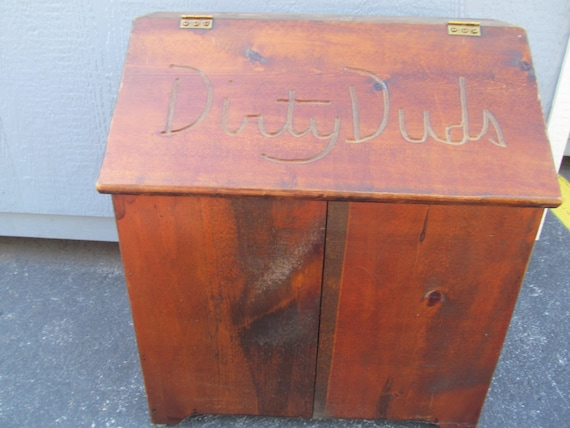 Vintage Wood Laundry Hamper With Lid Dirty Duds