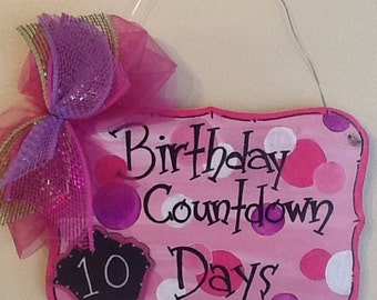 birthday sign, cupcake sign, birthday door sign, birthday refrig sign, Birthday countdown sign, countdown sign, celebration countdown sign