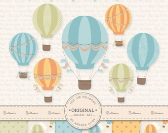 Premium Vintage Hot Air Balloons Clip Art & Digital Papers Set - Hot Air Balloon Clipart, Hot Air Balloons Digital Papers, Vinta
