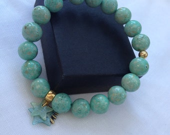 January Sale Delicate pale green fossil bead bracelet