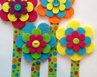 Ribbon Flower Bookmarks-Spring-60's-Flower Child-Hippie-Reading-Book-Bookmark-Literacy-Easter Basket Filler-Summer Reading-Teacher Gift-Read