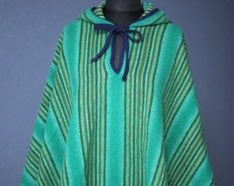 Vintage green striped poncho with hood / One size only / 70s