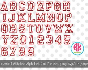 Baseball Stitches Alphabet Cut Files .png, .dxf,  .svg, .eps