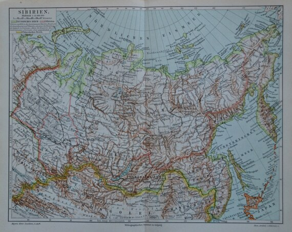 Siberia map. Geography print. Old book plate, 1897. Antique illustration. 117 years lithograph. 11'7 x 9'2 inches.