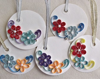 handmade paper quilled gift tags – set of  five round tags
