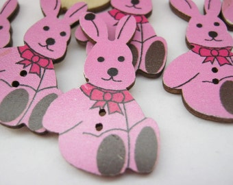 """6 Pink Bunny Rabbit Buttons 30mm (1 1/8"""")  Wooden Rabbits Children's Sewing Buttons Crafts Supplies"""
