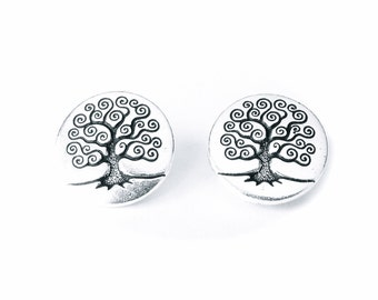 2x Tree of Life buttons with shank, TierraCast jewelry making supplies, craft supplies UK, metal buttons UK