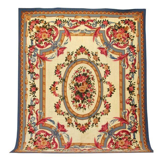 provincial style aubusson tapis rose. Black Bedroom Furniture Sets. Home Design Ideas