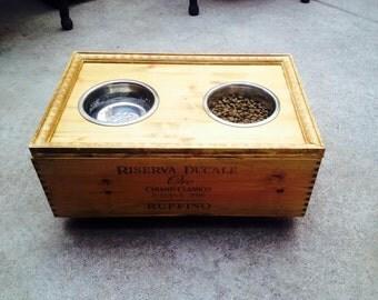 Recycled Wine Box Elevated Dog Feeder