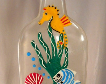 Undersea Fantasy • Yellow Seahorse, Tropical Fish, Seashells and Kelp • Unique Wall Art • Home Decor • Exclusive from Crafts by the Sea