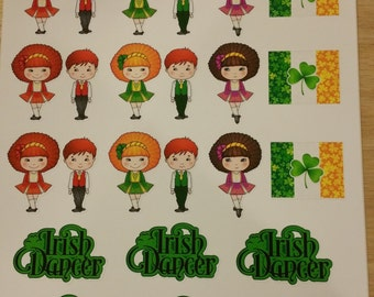 Irish dance Stickers, Full page of stickers for your Irish dancer, Great for sticking on notebook or diary to show your love of Irish dance