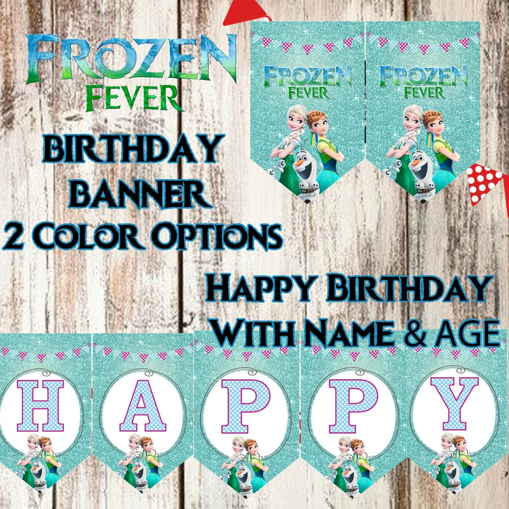 FROZEN FEVER Birthday Banner Includes Name And Age