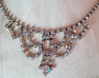 Vintage White Rhinestone Princess Necklace