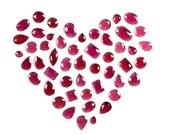 Bright Red Garnet Freeform Rose Cut Slices