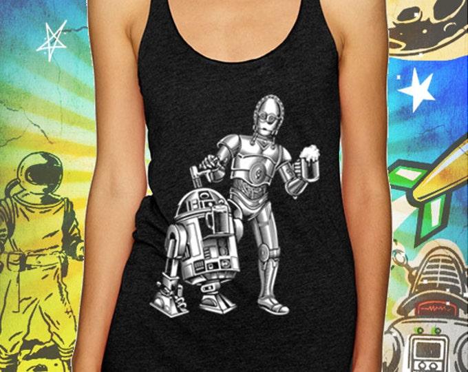 Star Wars R2 / 3PO Vintage Black Tank Top Dune Sea Cold Ones Star Wars Beer Tank Top