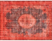 9.9 X 6.7 FT OVERDYED Vintage Rug - Red Color Authentic Handmade Carpet. Free world wide shipping ( 5882 )