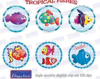 80%OFF SALE Digital Collage Sheet, Tropical fishes, Round Circles,1 Inch Circle Bottle Cap, 12 Printable Bottle caps, cupcake toppers